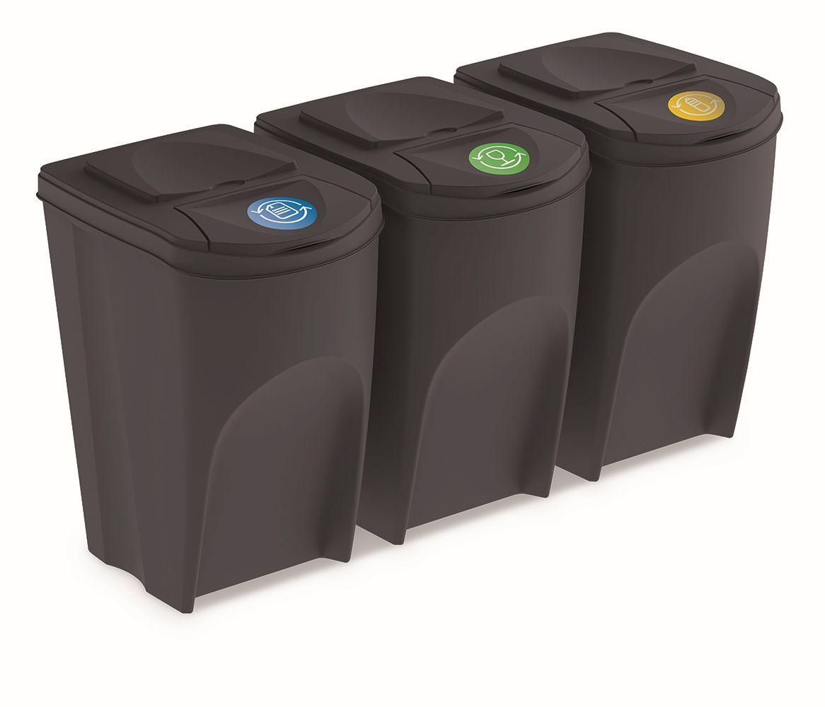 PROSPERPLAST Sada 3 odpadkových košů SORTIBOX antracit, objem 3x35L