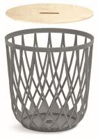 Univerzální koš UNIQUBO s dřevěným víkem šedý kámen