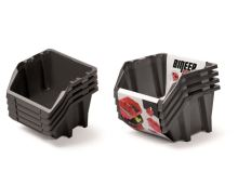 Set plastových úložných boxů 4ks BINEER SHORT SET 272x238x236 černý