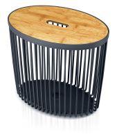 Univerzální oválný koš CLUBO s bambusovým víkem antracit