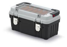 Kufr na nářadí s kov. držadlem a zámky OPTIMA šedý (přihrádky)