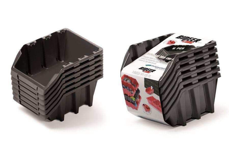 PROSPERPLAST Set plastových úložných boxů 6ks BINEER LONG SET 249x158x213 černý
