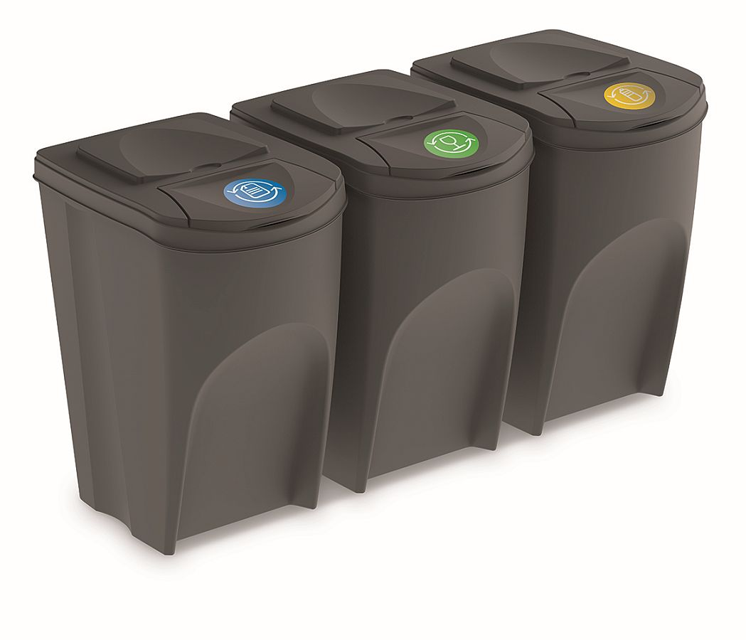 PROSPERPLAST Sada 3 odpadkových košů SORTIBOX šedý kámen, objem 3x35L