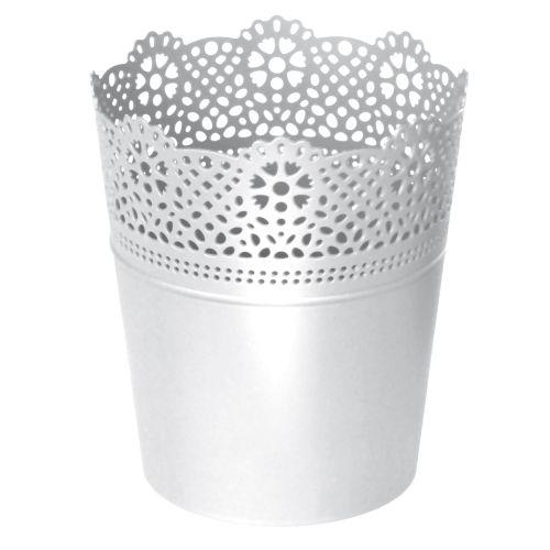 PROSPERPLAST Květináč s krajkou LACE bílý 18,0 cm