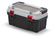 Kufr na nářadí s kov. držadlem OPTIMA šedý (krabičky)