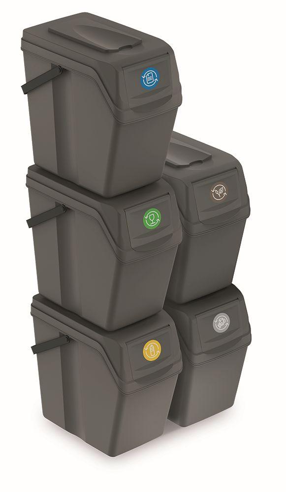 PROSPERPLAST Sada 5 odpadkových košů SORTIBOX II šedý kámen, objem 5x25L