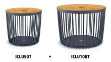 Set 2 univerzálních košů CLUBO s bambusovými víky 50+100l antracit