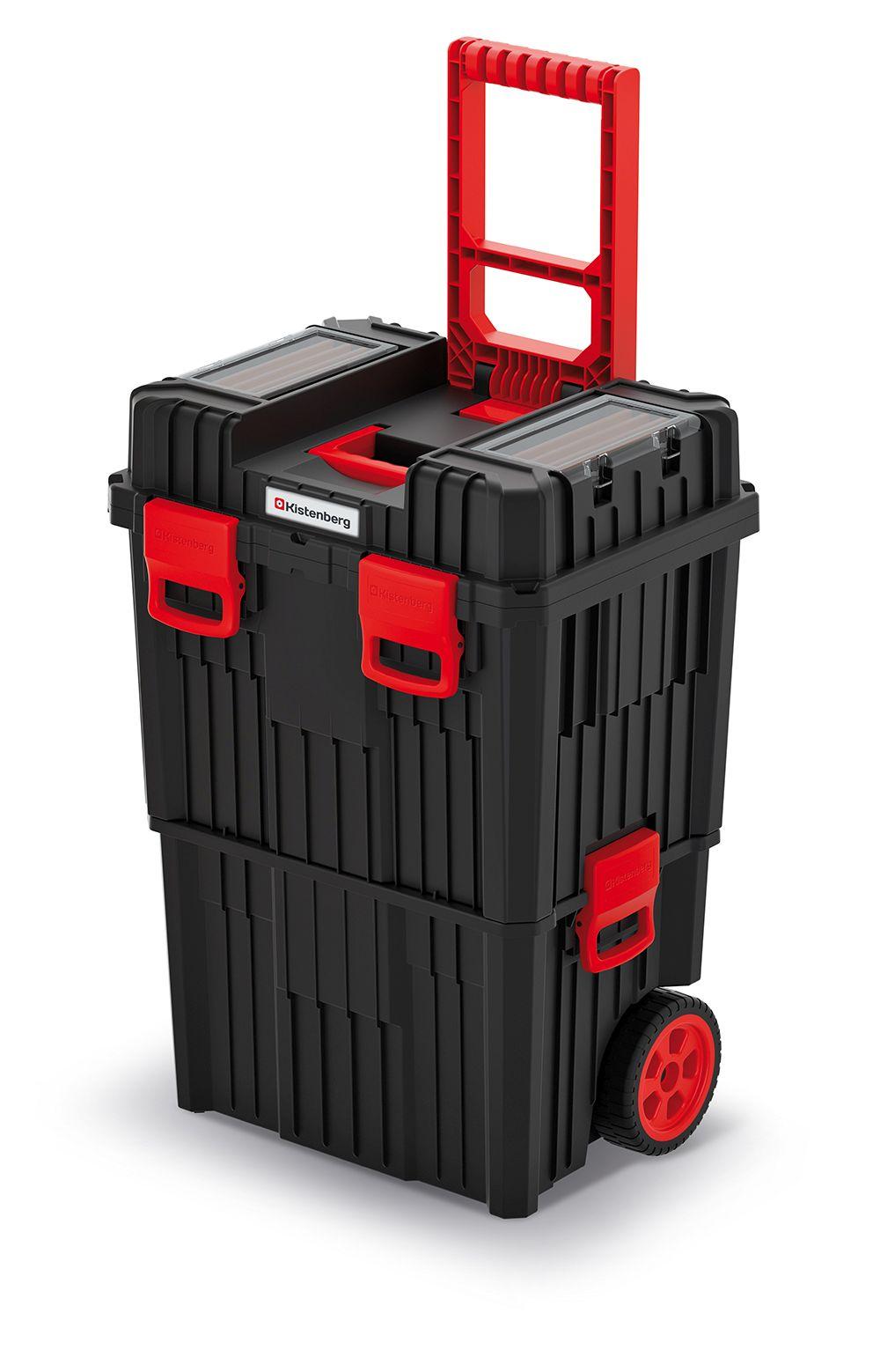 PROSPERPLAST Modulární kufr na nářadí s transp. kolečky HEAVY černý 450x360x640