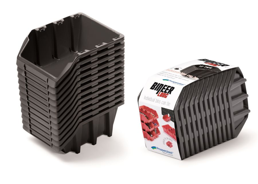 PROSPERPLAST Set plastových úložných boxů 12ks BINEER LONG SET 190x77x120 černý