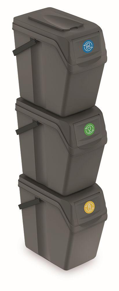 PROSPERPLAST Sada 3 odpadkových košů SORTIBOX II šedý kámen, objem 3x25L