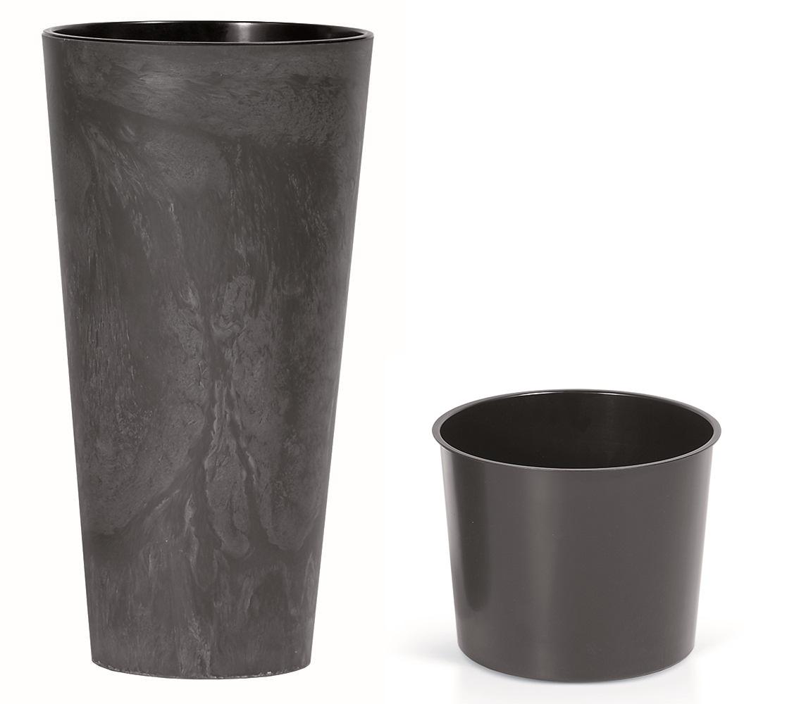 PROSPERPLAST Květináč s vkladem TUBUS SLIM BETON EFFECT antracit 30 cm