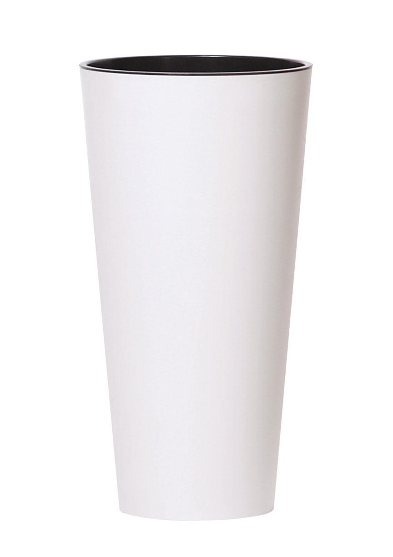 PROSPERPLAST Květináč TUBUS SLIM + vklad bílý mat 15cm