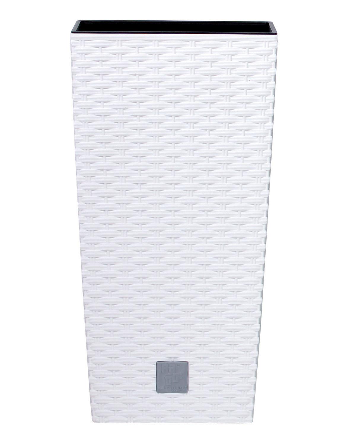 PROSPERPLAST Květináč RATO SQUARE + vklad bílý 17cm