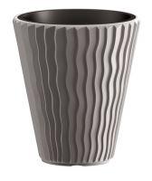Květináč nízký SANDY šedý kámen