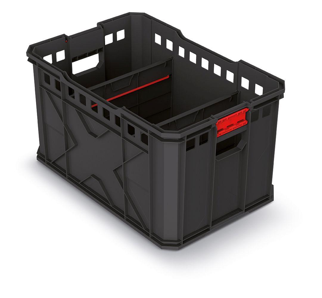 PROSPERPLAST Modulární přepravní box X BLOCK PRO černý 536x354x300