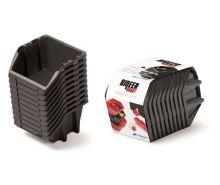 Set plastových úložných boxů 10ks BINEER SHORT SET 180x98x118 černý