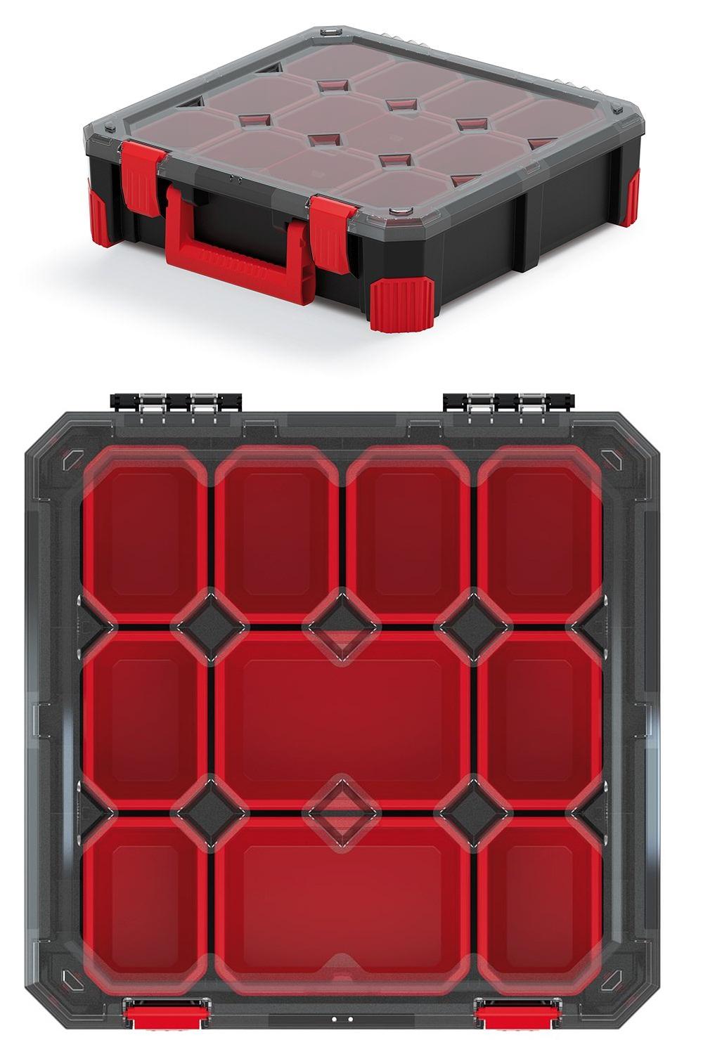 PROSPERPLAST Organizér TITAN - 10 přihrádek, průhledné víko 390x390x110
