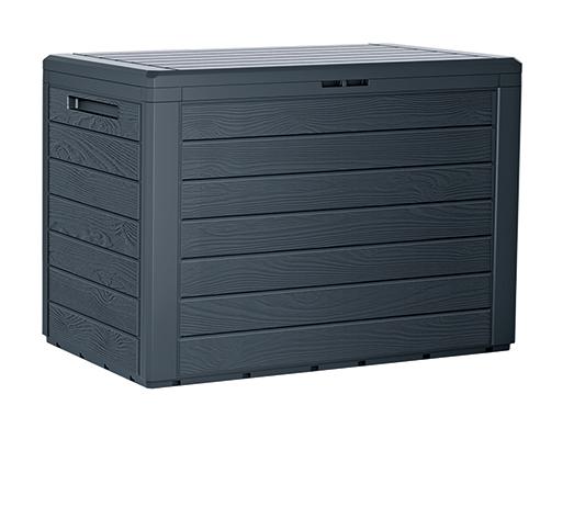 PROSPERPLAST Zahradní box WOODEBOX antracit 78 cm - 190L