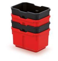 Sada 4 plastových boxů na nářadí TITAN BOX 156x110x195 černé/červené