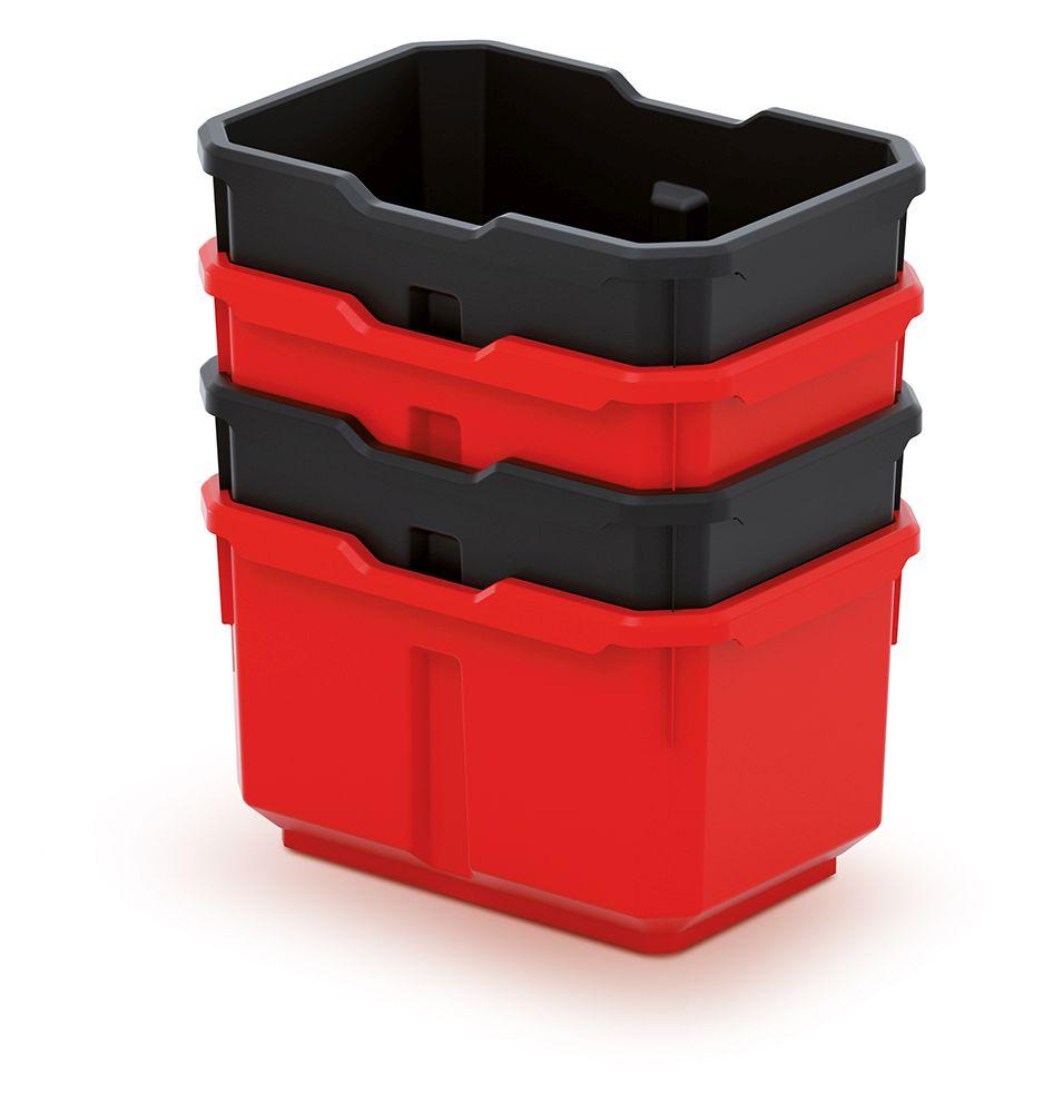 PROSPERPLAST Sada 4 plastových boxů na nářadí TITAN BOX 156x110x195 černé/červené