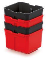 Sada 4 plastových boxů na nářadí X BLOCK BOX 157x140x210 černé/červené