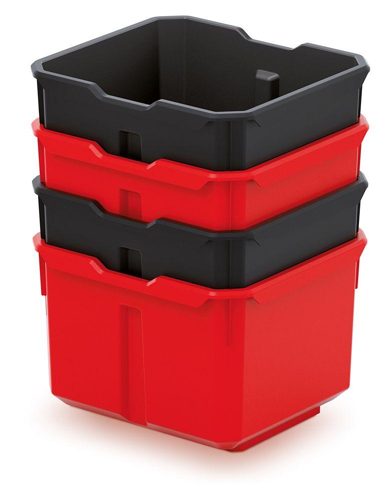 PROSPERPLAST Sada 4 plastových boxů na nářadí X BLOCK BOX 157x140x210 černé/červené