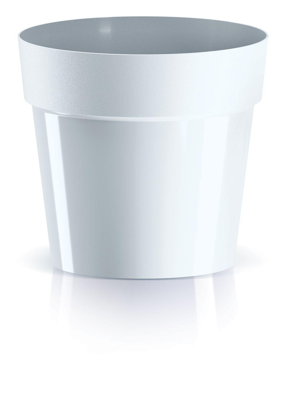 PROSPERPLAST Květináč CUBE BASIC bílý 12,4 cm