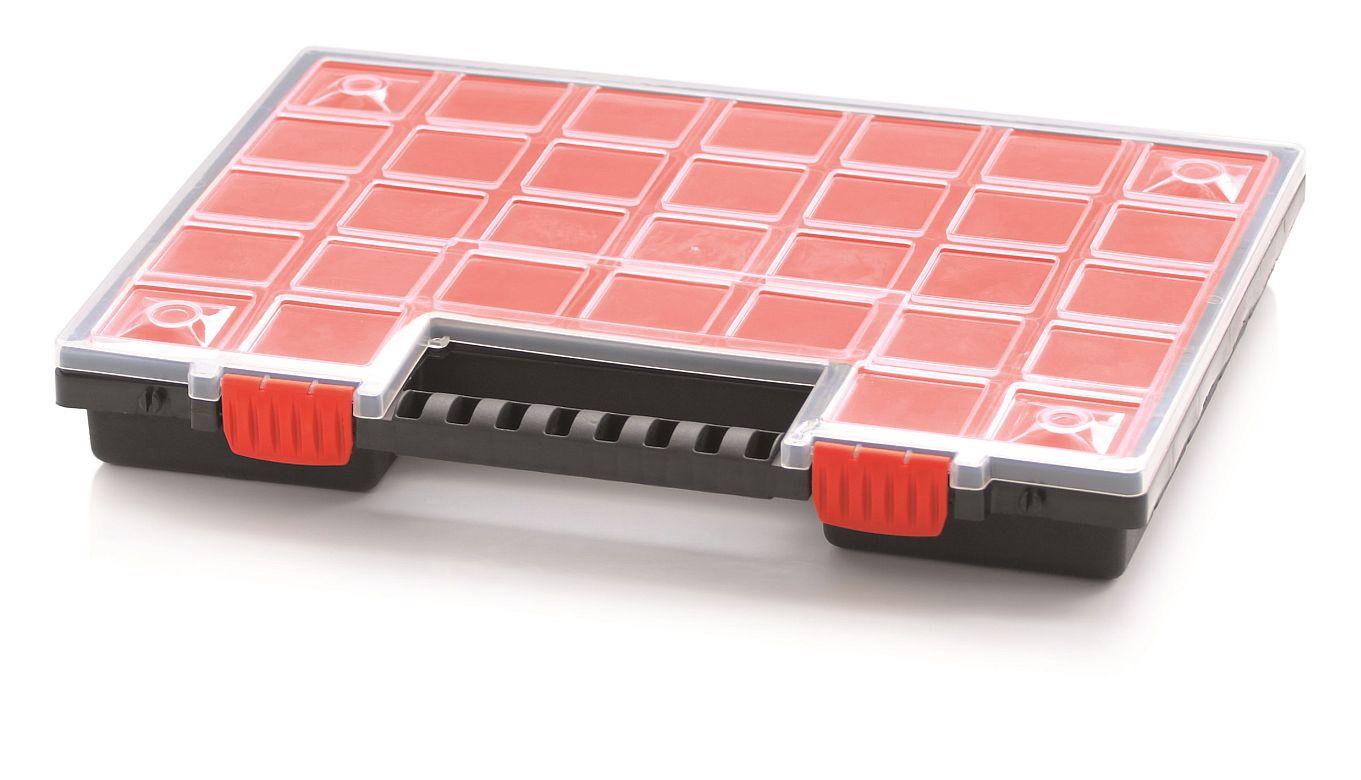 PROSPERPLAST Plastový organizér 21 červených krabiček NORB 399x303x50