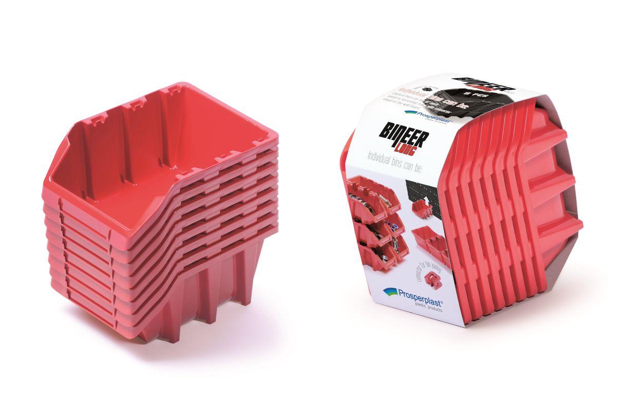 PROSPERPLAST Set plastových úložných boxů 8ks BINEER LONG SET 160x98x160 červený