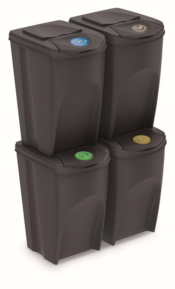 PROSPERPLAST Sada 4 odpadkových košů SORTIBOX antracit, objem 4x35L