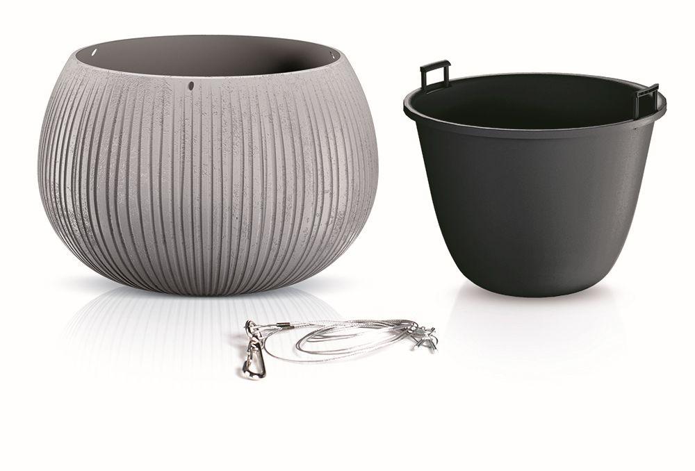 PROSPERPLAST Květináč s vkladem a ocel. lankem BETON BOWL WS šedý 29 cm