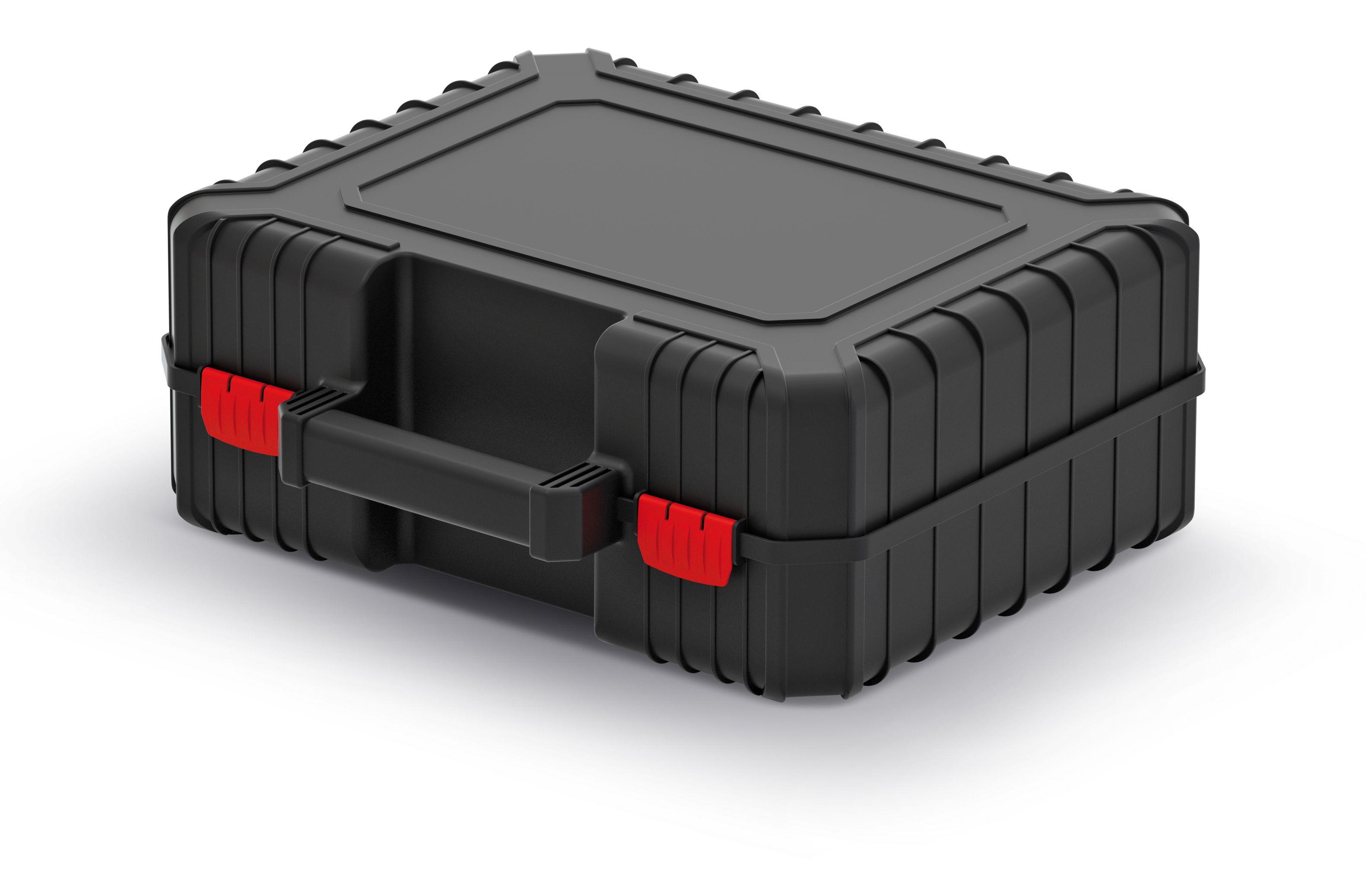 PROSPERPLAST Kufr na nářadí s upevňovacími páskami HEAVY černý 384x335x144