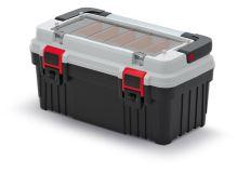 Kufr na nářadí s kov. držadlem OPTIMA šedý (přihrádky)