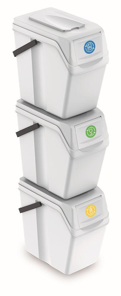PROSPERPLAST Sada 3 odpadkových košů SORTIBOX II bílá, objem 3x25L