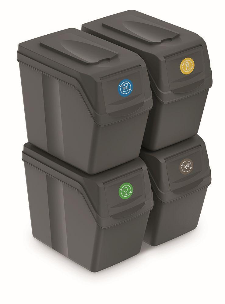 PROSPERPLAST Sada 4 odpadkových košů SORTIBOX I šedý kámen, objem 4x20L