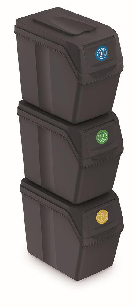 PROSPERPLAST Sada 3 odpadkových košů SORTIBOX I antracit, objem 3x20L