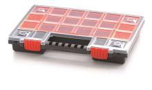 Plastový organizér 22 červených krabiček NORB 344x249x50