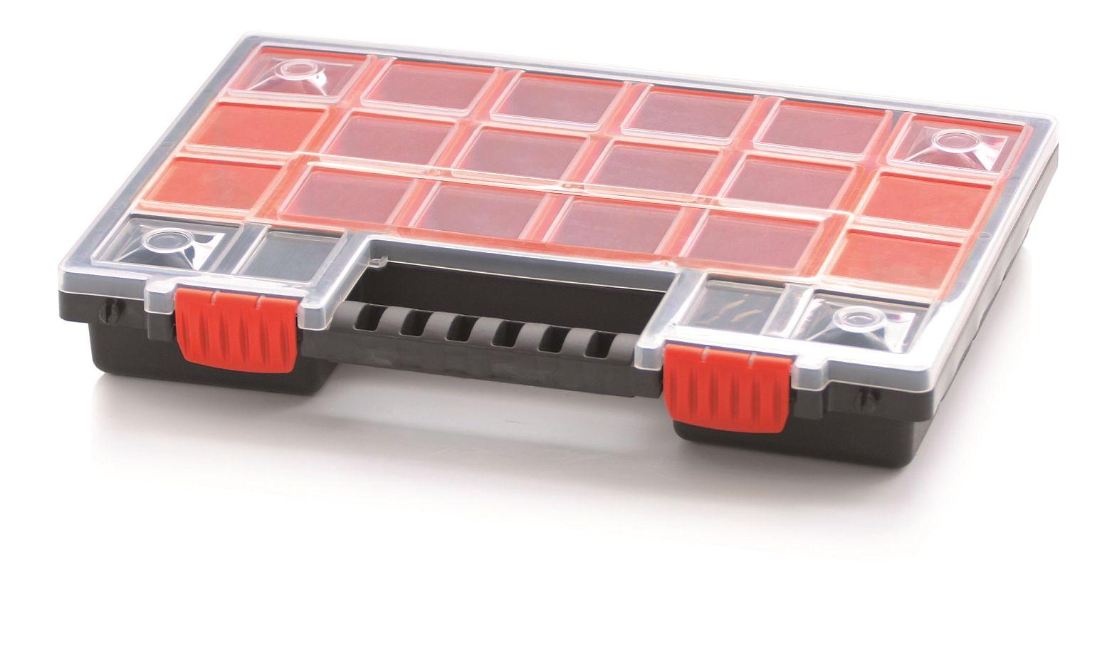 PROSPERPLAST Plastový organizér 22 červených krabiček NORB 344x249x50