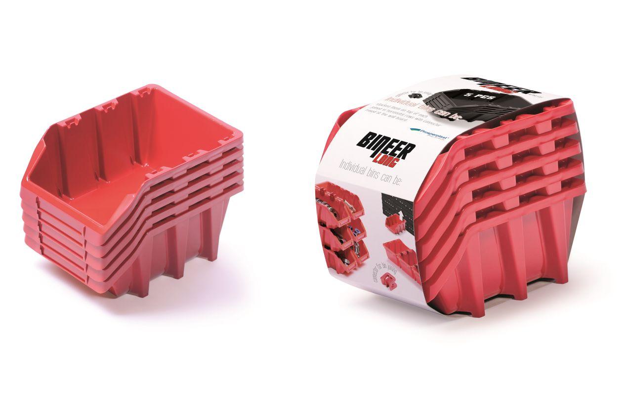 PROSPERPLAST Set plastových úložných boxů 5ks BINEER LONG SET 198x118x155 červený
