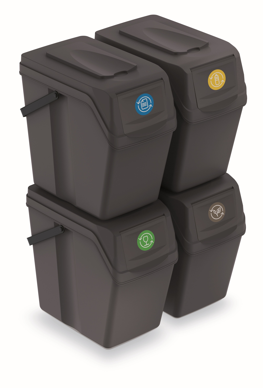PROSPERPLAST Sada 4 odpadkových košů SORTIBOX II antracit, objem 4x25L