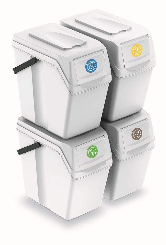 PROSPERPLAST Sada 4 odpadkových košů SORTIBOX II bílá, objem 4x25L