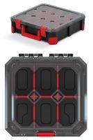 Organizér TITAN - 6 přihrádek (přepážky), průhledné víko 280x280x110