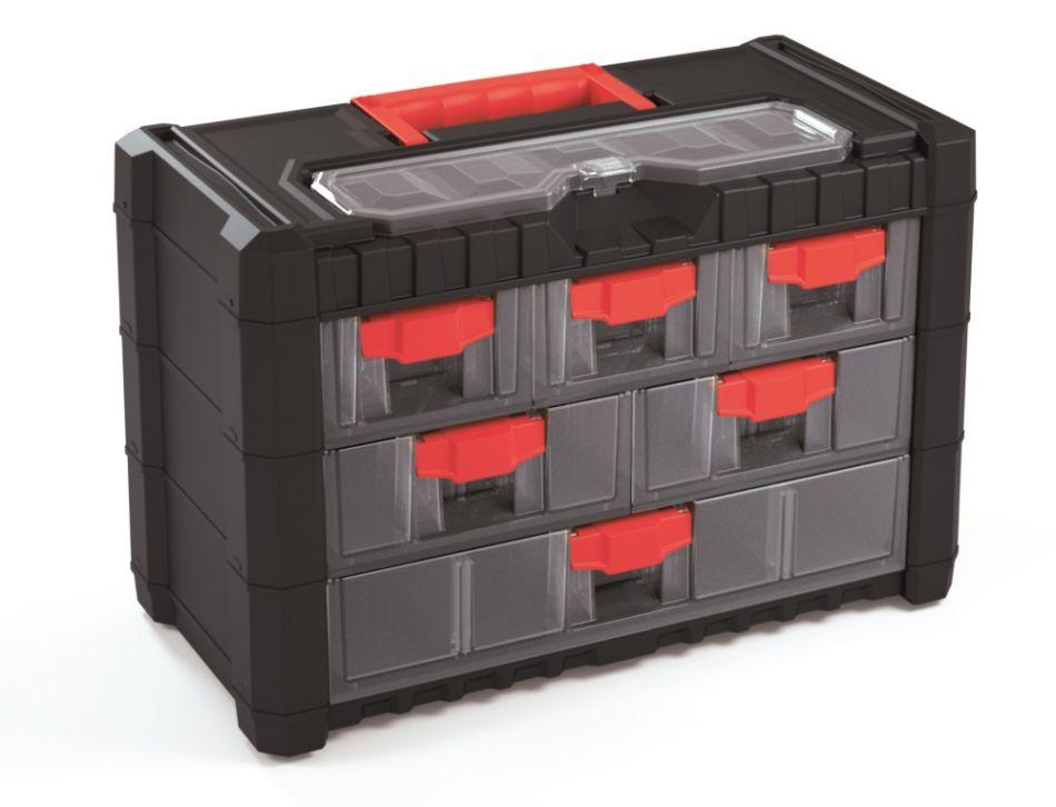 PROSPERPLAST Plastový organizér závěsný MULTICASE CARGO 400x200x260 červené úchyty