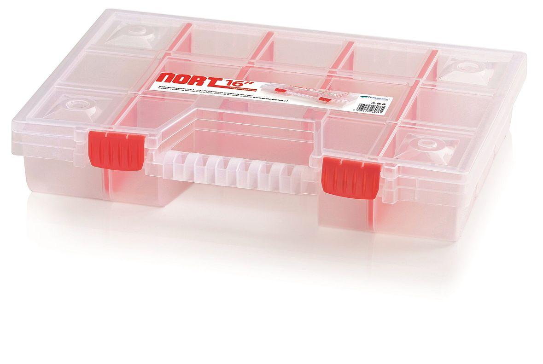 PROSPERPLAST Plastový organizér 14 přihrádek (přepážky) NORT 390x290x65 červený