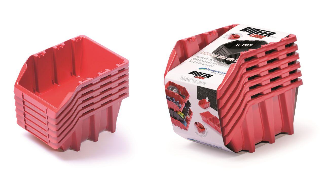 PROSPERPLAST Set plastových úložných boxů 6ks BINEER LONG SET 249x158x213 červený