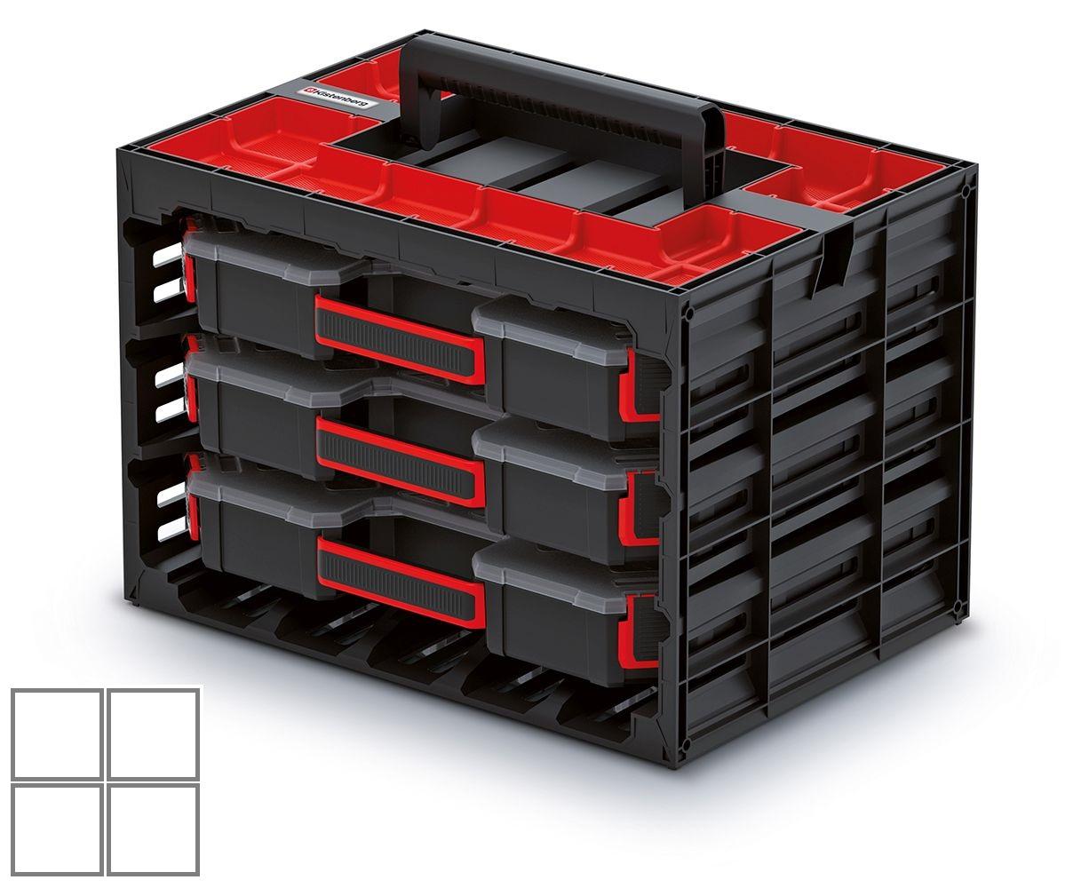 PROSPERPLAST Skříňka s 3 organizéry (krabičky) TAGER CASE 415x290x290