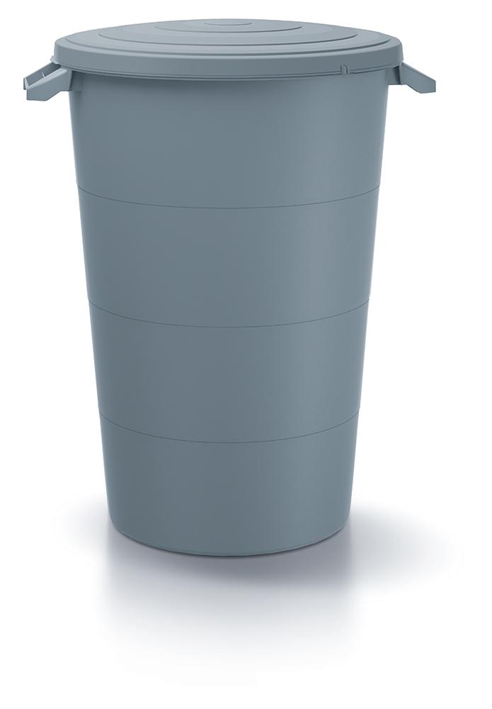 PROSPERPLAST Plastová nádoba s úchyty SMOOTH světle šedá 80l