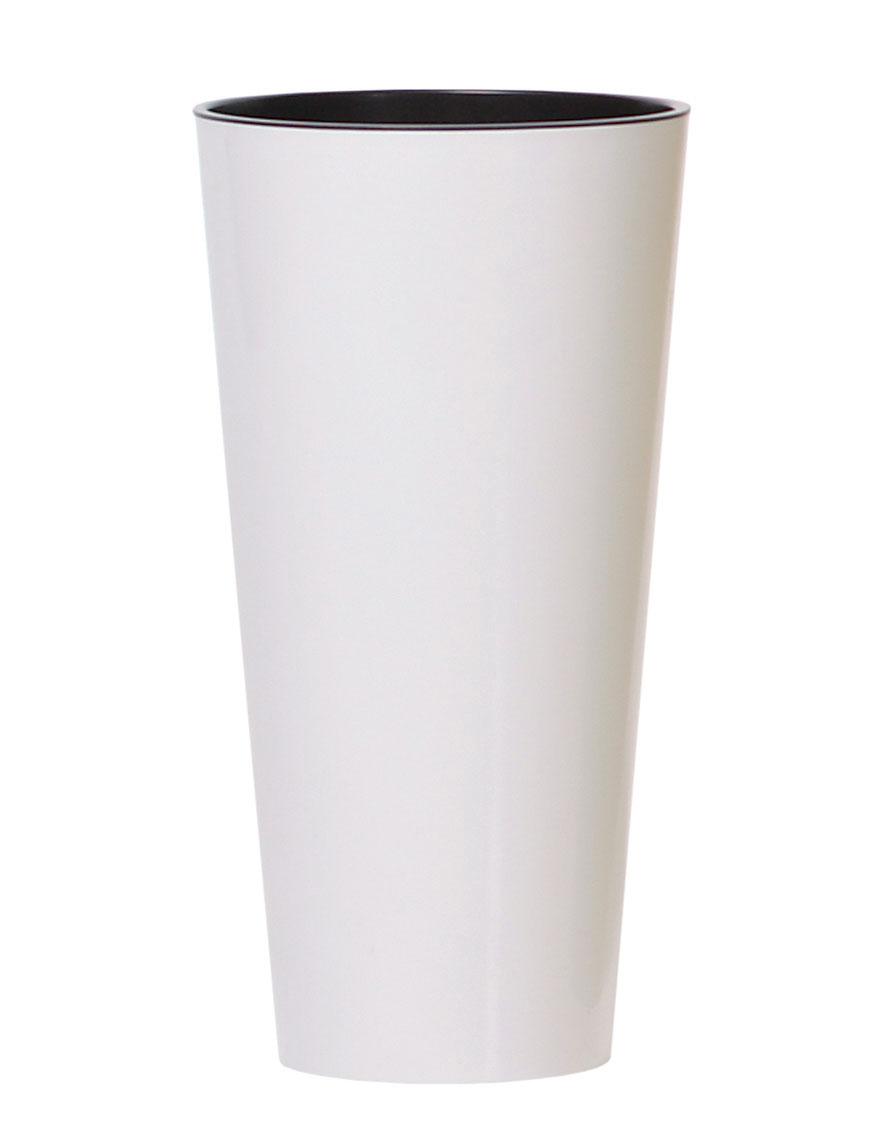 PROSPERPLAST Květináč TUBUS SLIM + vklad bílý lesk 15cm