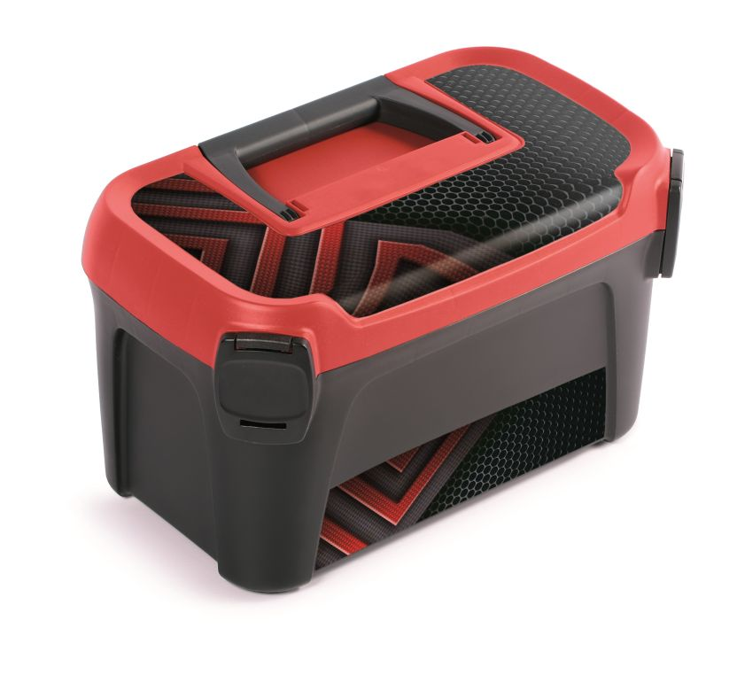 PROSPERPLAST Plastový kufr na nářadí LINE IML motiv karbonu 380x234x225