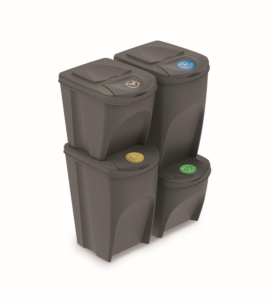 PROSPERPLAST Sada 4 odpadkových košů SORTIBOX šedý kámen, objem 2x25l a 2x35l